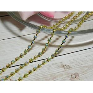Цепочка со стразами SS8, 10 ярдов золото АВ