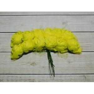 Розы фом + органза, 144 шт. (12 букетов) желтый